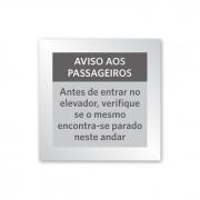 Placa de Aviso de Elevador - 10 X 10 cm - Prata