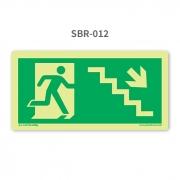 Placa de Saída Escada Seta 45º para Baixo à Direita - SBR 012