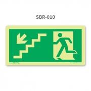 Placa de Saída Escada Seta 45º para Baixo à Esquerda - SBR 010