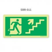 Placa de Saída Escada Seta 45º para Cima à Direita - SBR 011