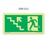 Placa de Saída Escada Seta 45º para Cima à Esquerda - SBR 013