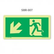 Placa de Saída Seta 45º para Baixo à Esquerda - SBR 007