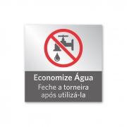 Placa Economize Água - 14 X 14 cm - Prata