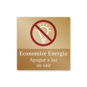 Placa Economize Energia - 14 X 14 cm - Ouro Velho