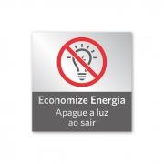 Placa Economize Energia - 14 X 14 cm - Prata