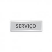 Placa Elevador Serviço 18 X 6 cm - Prata