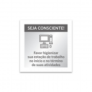 Placa Higienizar estação de trabalho - 14 x 14 cm - Acrílico