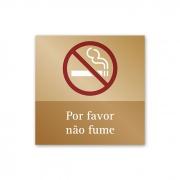 Placa Não Fume - 14 X 14 cm - Ouro Velho