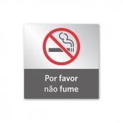 Placa Não Fume - 14 X 14 cm - Prata