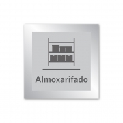 Placa para Almoxarifado - 14 X 14 cm - Prata
