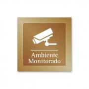 Placa para Ambiente Monitorado - 14 X 14 cm - Ouro Velho