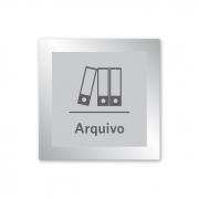 Placa para Arquivo - 14 X 14 cm - Prata