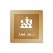 Placa para Auditório - 14 X 14 cm - Ouro Velho