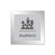 Placa para Auditório - 14 X 14 cm - Prata