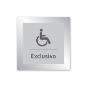 Placa para Banheiro Exclusivo P.N.E - 14 X 14 cm - Prata