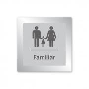 Placa para Banheiro Familiar - 14 X 14 cm - Prata