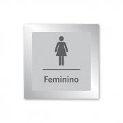 Placa para Banheiro Feminino - 14 X 14 cm - Prata - Em Estoque
