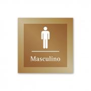 Placa para Banheiro Masculino - 14 X 14 cm - Ouro Velho
