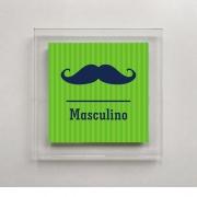 Placa para Banheiro Masculino - 18 X 18 cm - Acrílico - Bigode