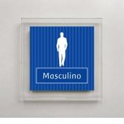 Placa para Banheiro Masculino - 18 X 18 cm - Acrílico - Listras