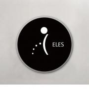 Placa para Banheiro Masculino - Redonda 18 cm - Acrílico - Black&White