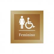 Placa para Banheiro P.N.E Feminino - 14 X 14 cm - Ouro Velho