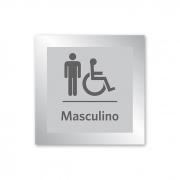 Placa para Banheiro P.N.E Masculino - 14 X 14 cm - Prata
