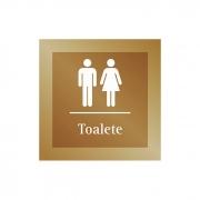 Placa para Banheiro Unissex - 14 X 14 cm - Ouro Velho