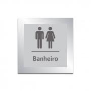 Placa para Banheiro Unissex - 14 X 14 cm - Prata - Em Estoque