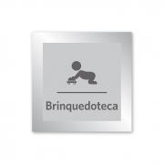 Placa para Brinquedoteca - 18 X 18 cm - Prata