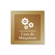 Placa para Casa de Máquinas - 14 X 14 cm - Ouro Velho