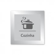 Placa para Cozinha - 14 X 14 cm - Prata
