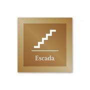 Placa para Escada - 14 X 14 cm - Ouro velho