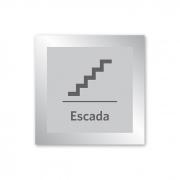 Placa para Escada - 14 X 14 cm - Prata