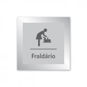 Placa para Fraldário - 14 x 14 cm - Prata