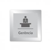 Placa para Gerência - 14 X 14 cm - Prata