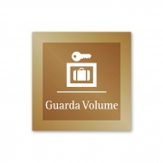Placa para Guarda-Volumes - 14 x 14 cm - Ouro Velho