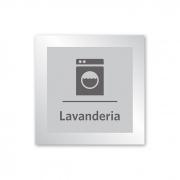 Placa para Lavanderia - 14 X 14 cm - Prata