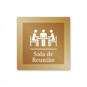 Placa para Sala de Reunião - 14 X 14 cm - Ouro Velho