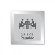 Placa para Sala de Reunião - 14 X 14 cm - Prata