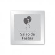 Placa para Salão de Festas - 18 X 18 cm - Prata