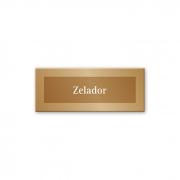 Placa Zelador - 15 x 6 cm - Ouro Velho