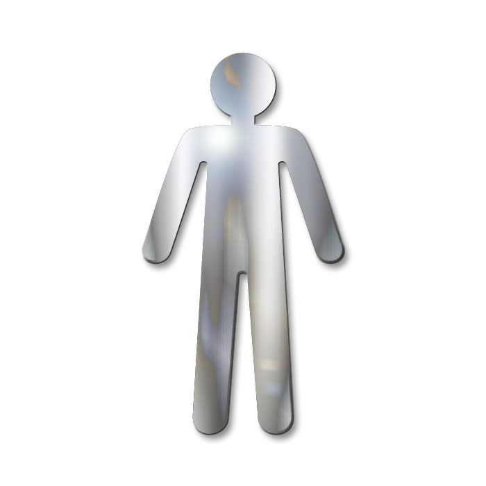 Pictograma Masculino - 12 cm - Aço Inox Recortado