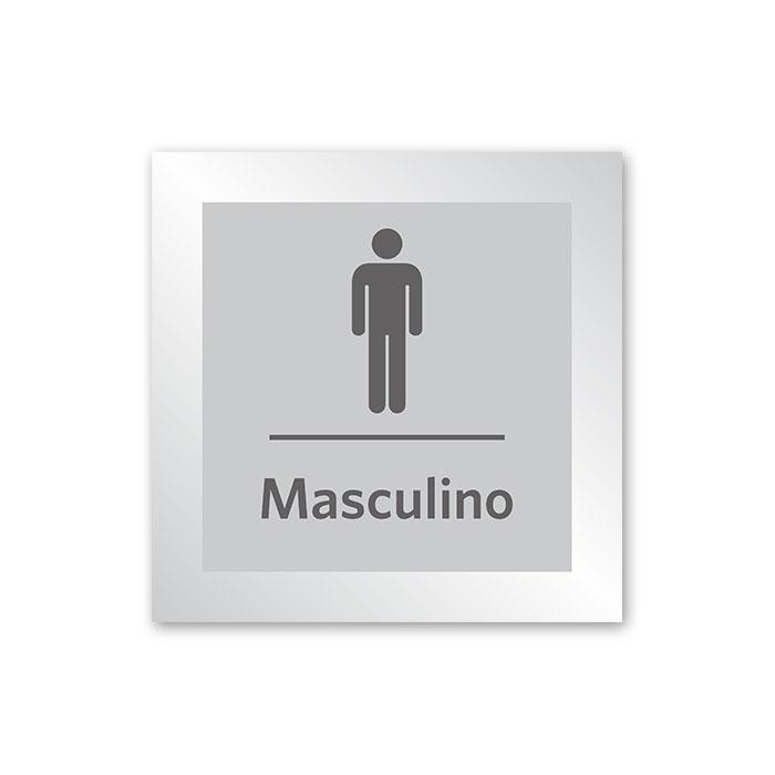 Placa para Banheiro Masculino - 14 X 14 cm - Prata - Em Estoque