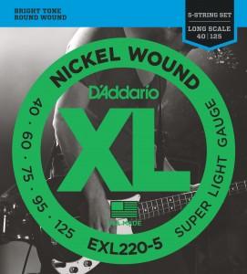 Encordoamento D'Addario EXL220-5 040 para Baixo 5 cordas