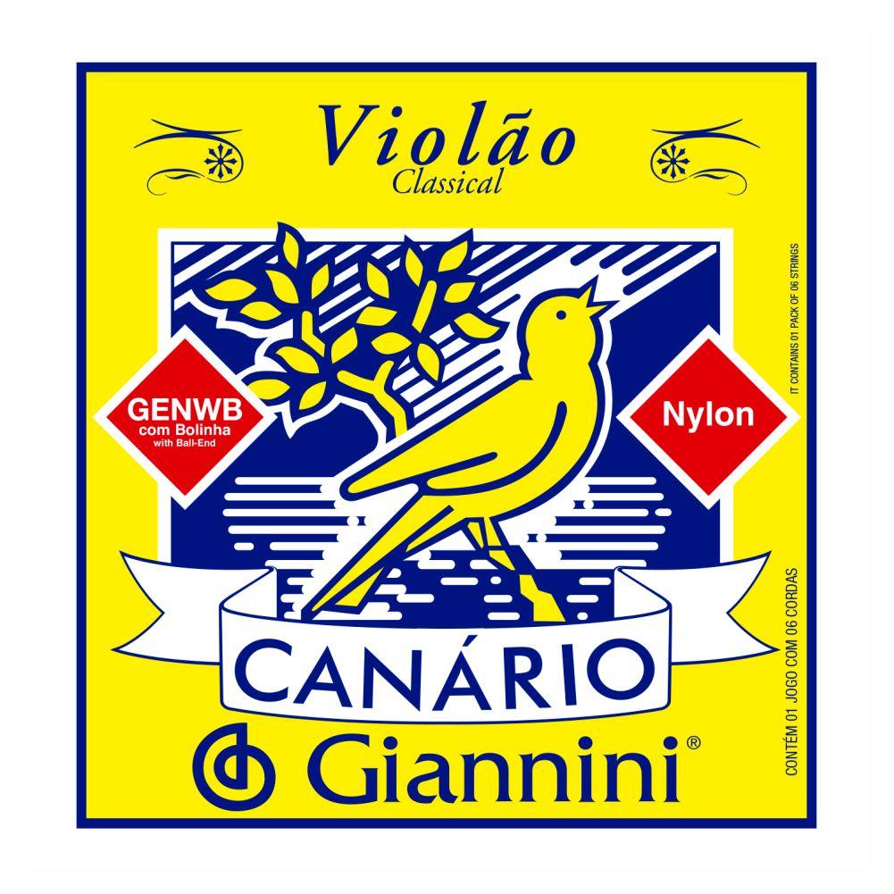 Encordoamento Giannini Canário GENWB nylon com bolinha para violão