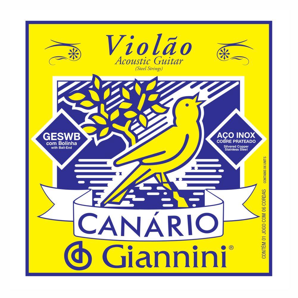 Encordoamento Giannini Canário GESWB aço com bolinha para violão