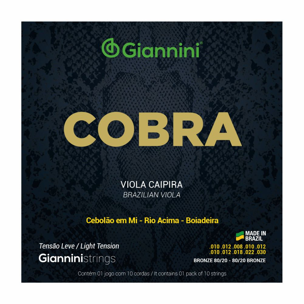 Encordoamento Giannini Cobra CV82L 010 tensão leve Bronze para Viola Caipira