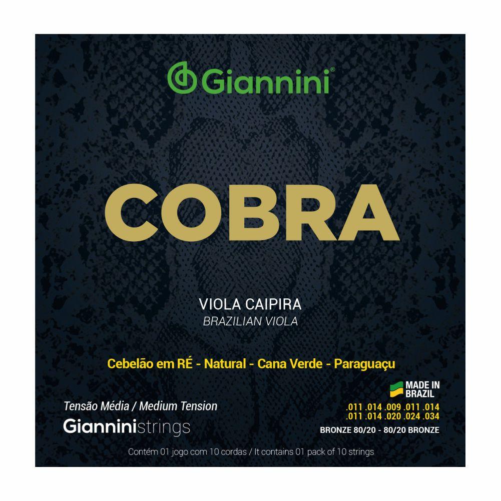 Encordoamento Giannini Cobra CV82M 011 tensão média Bronze para Viola Caipira