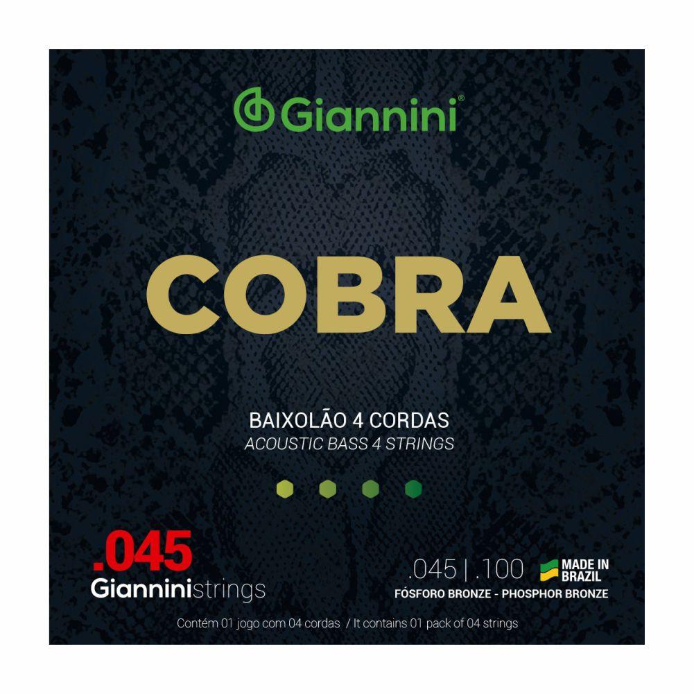 Encordoamento Giannini Cobra GEEBASF 045 Fosforo Bronze para Baixolão 4 cordas